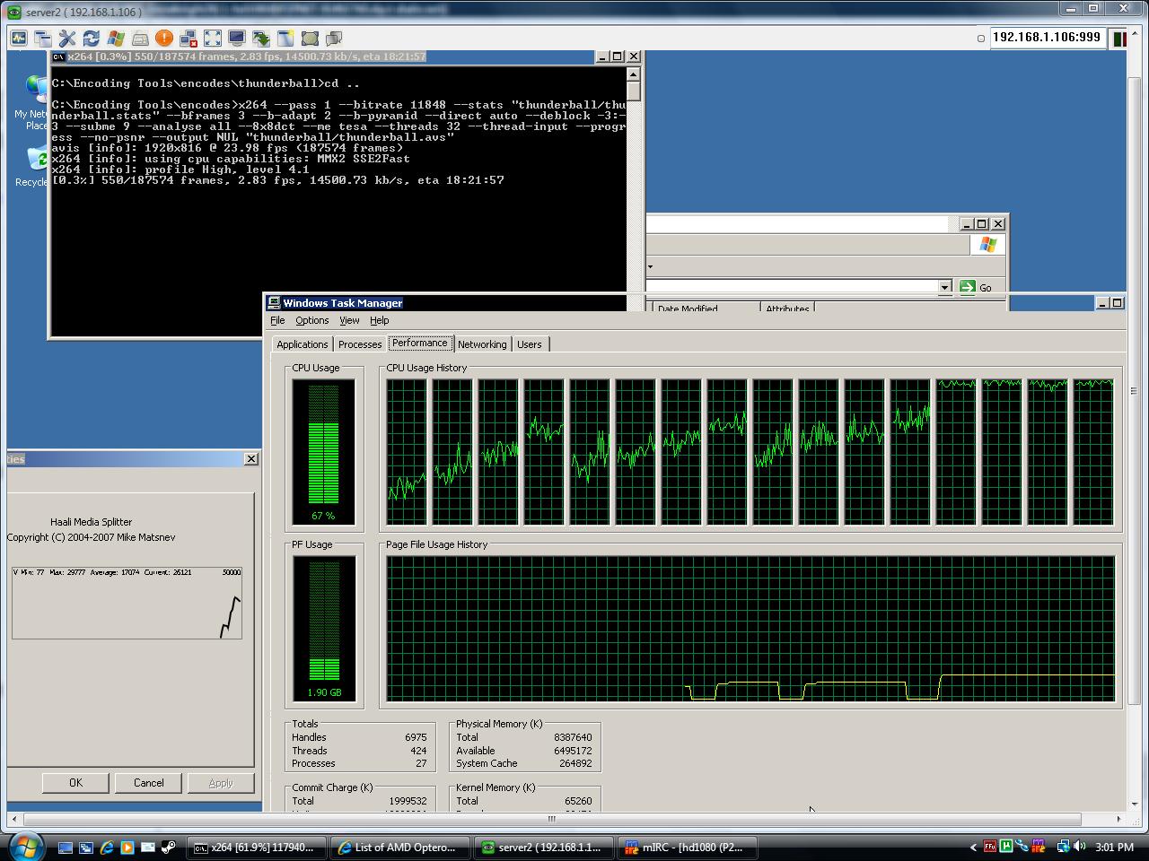 x264's 1st pass always <100% CPU Usage (& --b-adapt 1 crash